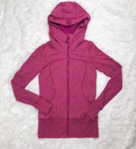 Lululemon Scuba Hoodie Track Jacket Womens Size 6 Pink Thumb Holes EUC