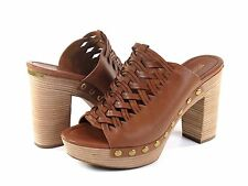 Michael Kors Westley Mule Acorn Brown Leather Studded & Woven Heel NEW Size 9