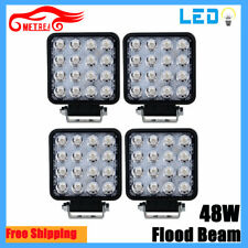 4X 48W Square LED Work Light Spot Lamp For Offroad Truck Tractor Boat Bar 12V
