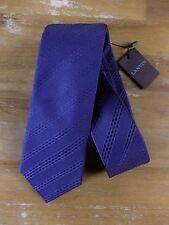 LANVIN tie silk skinny blue Paris mens authentic NWT