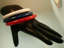 "Blue Lucite Bangle Bracelets! 8"" 3 Vintage Patriotic Red, White &"