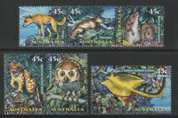 Australia 1997 : Creatures of the Night, Set of 5 x 45c Decimal Stamps, MNH