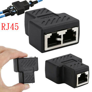 Ethernet Splitter 1-to-2 RJ45 Female Connector Adapter LAN Network Cable Output