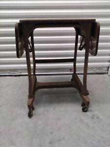 Vintage INDUSTRIAL TYPEWRITER TABLE Wood Top drop leaf metal rolling plant stand