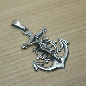 Mexican Silver Taxco Sailors Anchor Navy Jesus Etched Large Unisex Cross Pendant