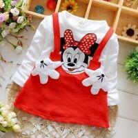 Abito Bambina 6 mesi-4 anni minnie mouse cotone manica lunga bimba giirl dres