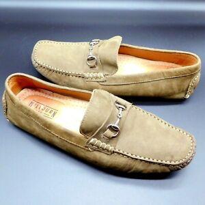 Millburn Co Olive Green Comfort Suede Leather 11M Horse Bit Driving Loafer Shoes
