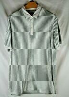Travis Mathew Short Sleeve Polo Shirt Mens Size 2XL XXL Polyester Striped Gray