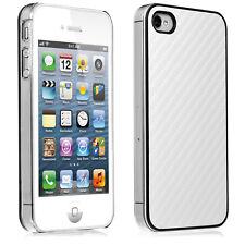 iPhone 4 4S Case Tasche Schale Cover Handy Schutz Hülle in Carbon-Optik weiss