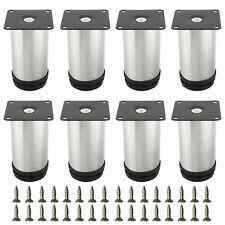 8 Pcs Stainless Steel Furniture Legs Round Feet Adjustable Kitchen Cabinet Legs