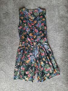 Gorgeous Dark Floral Short Playsuit size medium NEW