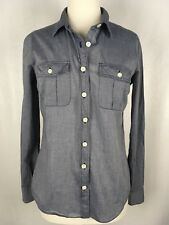 J Crew The Perfect Shirt 100% Cotton Denim Style Long Sleeve Button Down Size S