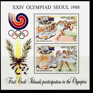 COOK ISLANDS - Aitutaki QEII SG MS585, 1988 Olympic Games mini sheet, NH MINT.