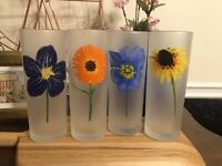 Vintage 4 DARTINGTON Designs Highball Tumbler Frosted Flower Drinking Glasses