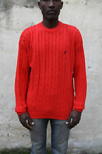 Marlboro Classic CABLE Jumper Knit Sweat Casuals Top Auth Crew Neck Red Italy L