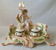 Vintage Putti Double Inkwell Candle Stick Holder Porcelain Gilt Crossed Swords R