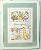 Counted Cross Stitch Kit Baby Birth Record Dimensions 13650 Vintage Ann Craig