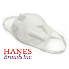 5 Pack - Hanes White 100% Cotton Face Mask Washable Protective Cover Facemask