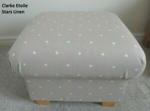 Storage Footstool Clarke Etoile Stars Linen Beige Fabric Pouffe Footstall Brown