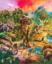 Wild Dinosaur panel fabric 36x 43 inches cotton Digital print