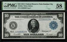 1914 $10 Federal Reserve Note - Kansas City - FR-943a - Graded PMG 58