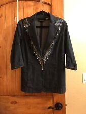 Mackie Southwestern Denim Jacket Blazer Size S  Dark Wash Embellished Studs!