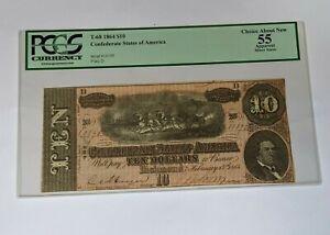 1864 Confederate State T-68 $10 Note PCGS 55 - 169902V