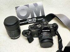 Vintage Olympus OM-2S Program 35mm SLR Film Camera w/ Two Lenses & Instructions