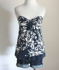 ABERCROMBIE & FITCH Hollister Floral Strapless Babydoll Tube Top Shirt Blouse XS