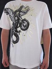 MARC ECKO Mens White & Gold Foil Wing Snake Bike 100% Cotton T Shirt LARGE NWT