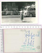Fotocartolina ricordo - corriera e Duomo di Bologna - 19592