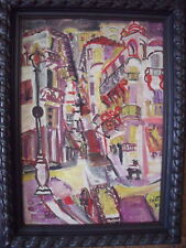 """ABSTRACT """"STREET VIEW"""" OIL ON CANVAS 1951 PARIS"""