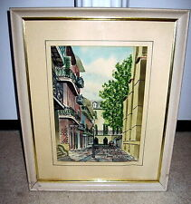 Framed WILLIAM COLLINS New Orleans Streetscape Watercolor