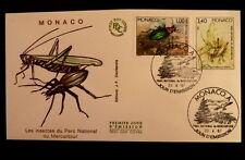 MONACO PREMIER JOUR FDC YVERT  1567+1572    SCARABE+SAUTERELLE   1+3,40F    1987