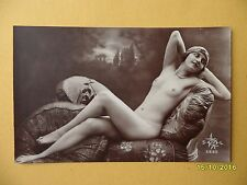 Original 1910's-1930's RPPC Postcard Nude Risque Seductive Lady Laying Down #22