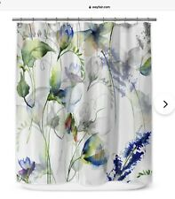 Wayfair Betsan Shower Curtain Floral Abstact Bohemian Colorful Multicolor New