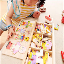 Cute Wooden Baby Bear Changing Clothes-Puzzle Set Children Kids Educational Toys