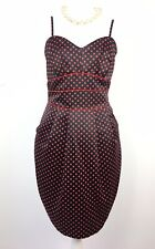 NEW Teatro Rockabilly 50s Wiggle Dress Silky Black Red Polka Dot Prom Cruise 12