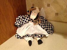 """Cow Rag Doll 16"""" Cute Blue and White Checkered Dress White Eyelet Metal Cowbell"""