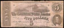 1862 $5 Dollar Bill Confederate States Currency Civil War Note Paper Money T-53