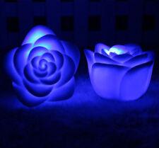 Dekoration Romantische 7 Farbwechsel LED Lampe Kerze Licht Nacht Rose Blume YY