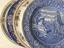 "Vintage 4 Mismatched China & Ironstone Dinner Plates Blue & White 9.75"" to 10.5"""