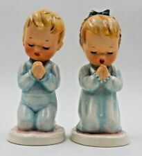 """VINTAGE GOEBEL """"BLESS US ALL"""" LITTLE GIRL AND BOY PRAYING  FIGURINES Byj17 1957"""