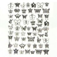 60Pcs/Set Vintage Tibetan Silver Mix Charm Butterfly Pendants Jewelry DIY CrADD