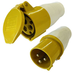 110V 16A 3 pin SITE TRAILING PLUG and SOCKET IP44 waterproof for extension lead
