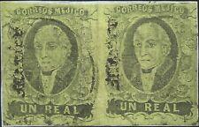 J) 1861 Mexico, Hidalgo, Un Real, Pair, Frangment Of Letter, Mexico District, Ci