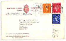 AN236 1965 GB USED GERMANY Cologne Wilding Uprated Reply Card Returned Durham