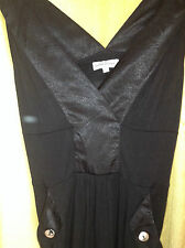 Oliver Bonas Black Deep V-Neck V-Back Sleeveless Stretch Dress w/ Tulip Skirt