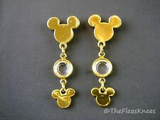 Disney Mickey Mouse Gold Plated Crystal Dangle Earrings - Rare