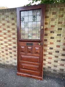 Reclaimed Old Victorian Edwardian Wooden Panel External Front Door 2030 x 810mm